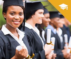A line of graduates smiling